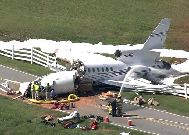 private plane's body torn in half