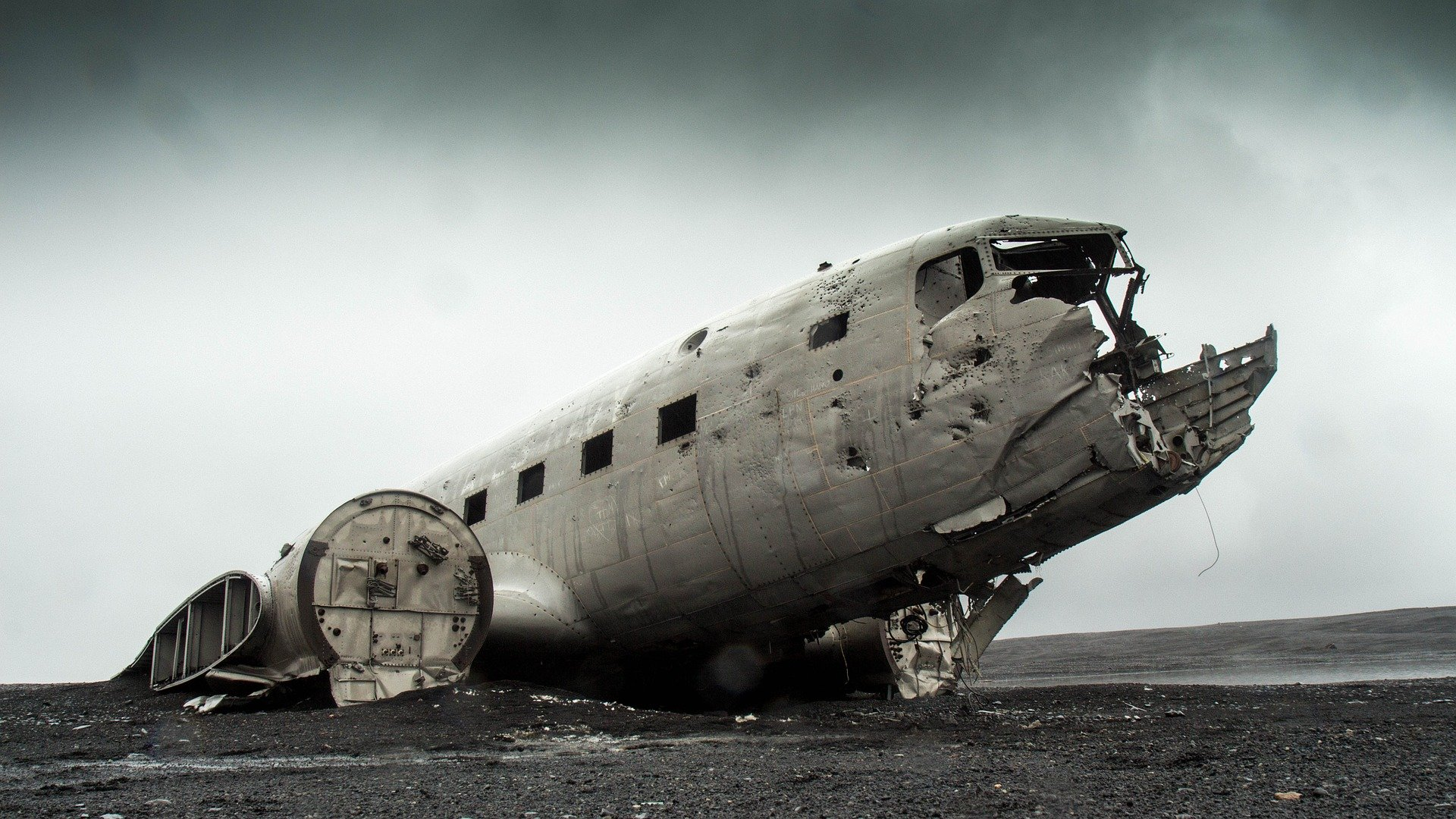 an old plane with a damaged nose