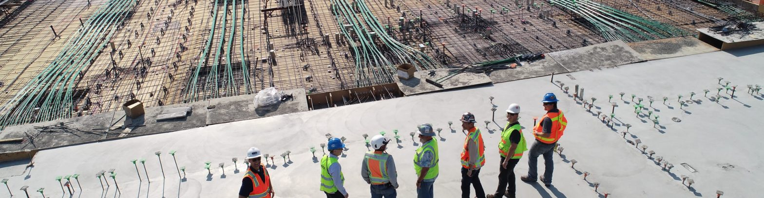 team of workers overseeing a construction site